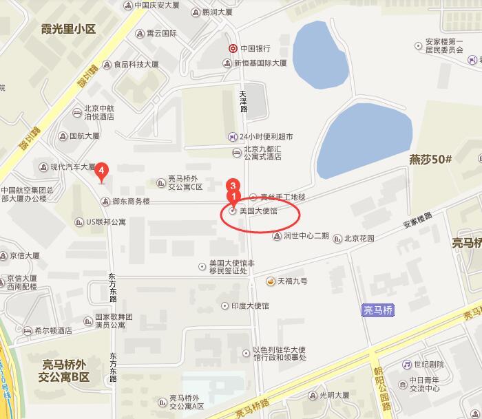 北京美国大使馆签证中心地图
