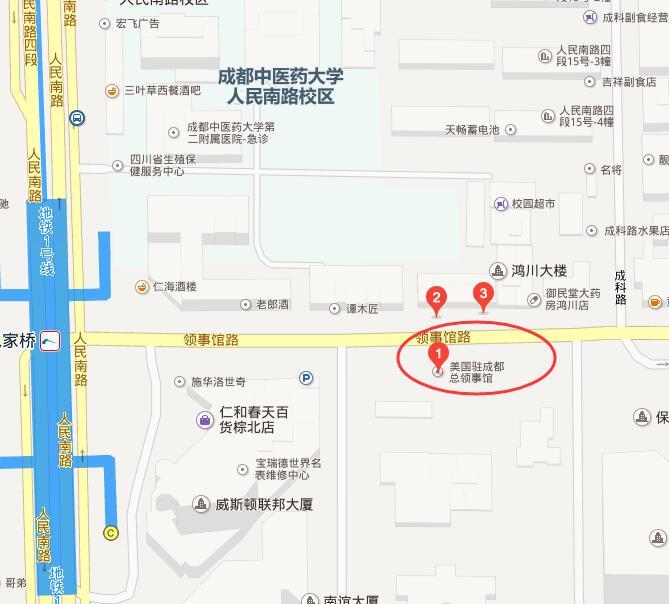 美国驻成都总领事馆交通地图