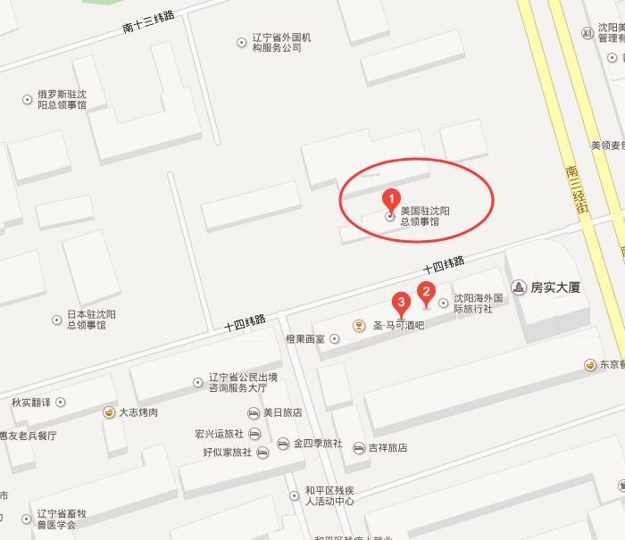 美国驻沈阳总领事馆交通地图
